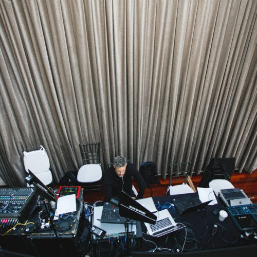 Control desk where the audio and video engineers controlled the media displayed around the venue.