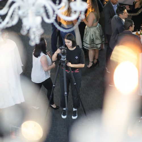 A high-up shot of a photographer for the event.