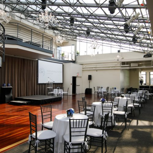 The front of the dining space and the stage area. Our speakers for the night will speak on this stage.
