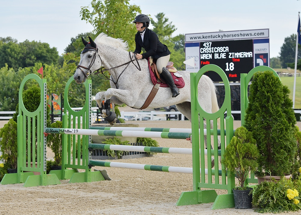 photo of wren on a horse caught in mid air jumping bar obstacles