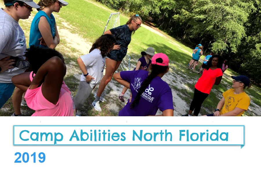 title image of children outdoors with the title of camp abilities north florida